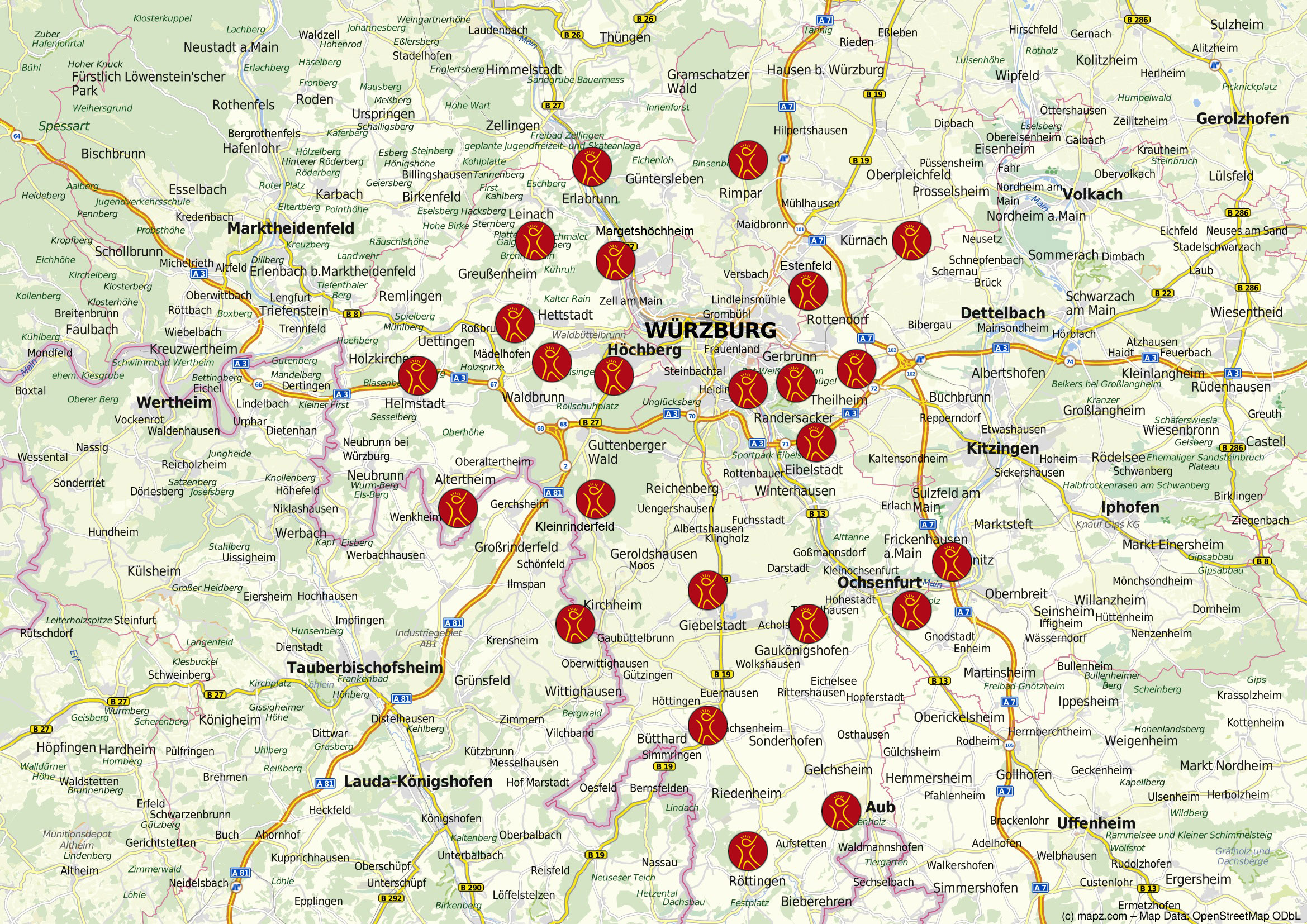 Landkreis Würzburg Karte.Unterrichtsorte Musikschule Würzburg